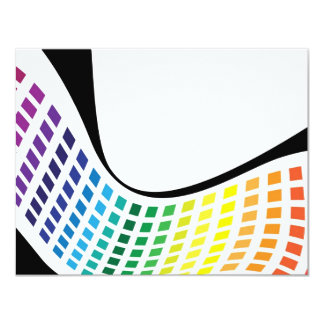 Wavy Rainbow Squares Abstract Layout 4.25x5.5 Paper Invitation Card