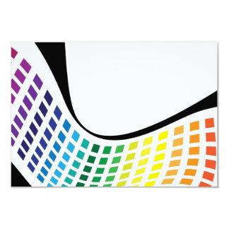 "Wavy Rainbow Squares Abstract Layout 3.5"" X 5"" Invitation Card"