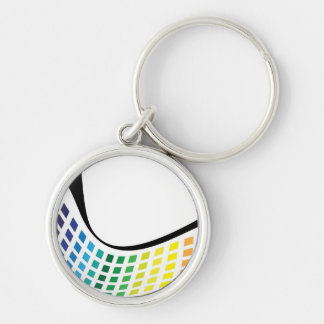 Wavy Rainbow Squares Abstract Layout Key Chains