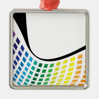 Wavy Rainbow Squares Abstract Layout Metal Ornament