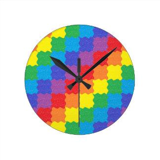 Wavy Rainbow Squares Clock