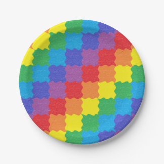 Wavy Rainbow Squares Paper Plates 7 Inch Paper Plate
