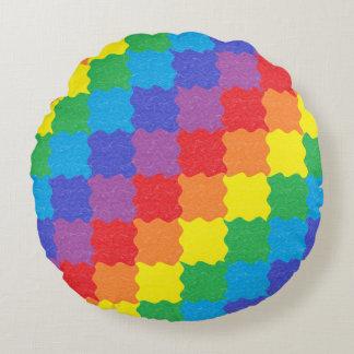 Wavy Rainbow Squares Round Throw Pillow Round Pillow