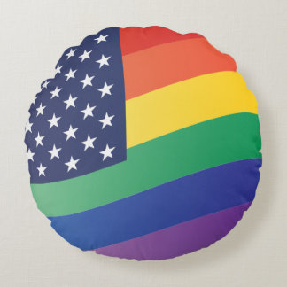 Wavy Rainbow Stars and Stripes Round Pillow