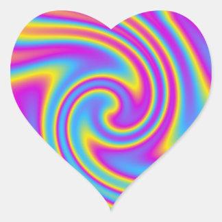 wavy rainbow heart sticker