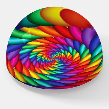 Wavy Rainbow Tunnel Twist Fractal Paperweight