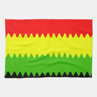 wavy red yellow green towel