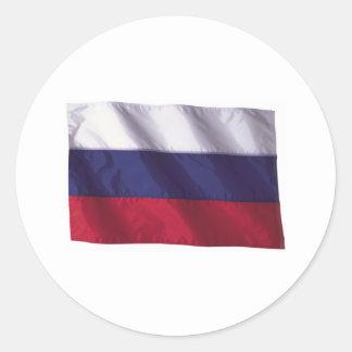 Wavy Russia Flag Classic Round Sticker