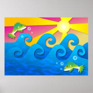 Wavy Sea Poster