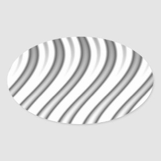 wavy silver flames pattern oval stickers