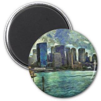 Wavy skyline of Sydney 2 Inch Round Magnet