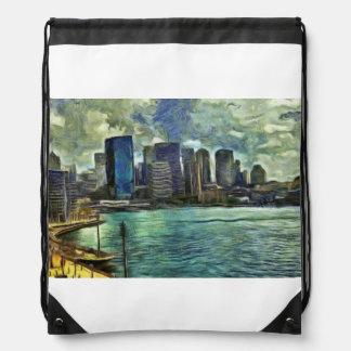 Wavy skyline of Sydney Drawstring Bag