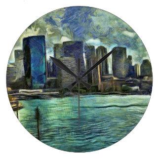 Wavy skyline of Sydney Large Clock