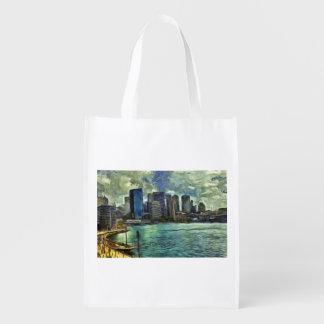 Wavy skyline of Sydney Reusable Grocery Bag