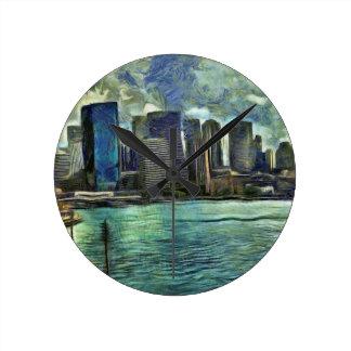 Wavy skyline of Sydney Round Clock