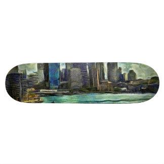 Wavy skyline of Sydney Skateboard Deck