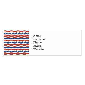 Wavy Stars and Stripes Pattern Double-Sided Mini Business Cards (Pack Of 20)