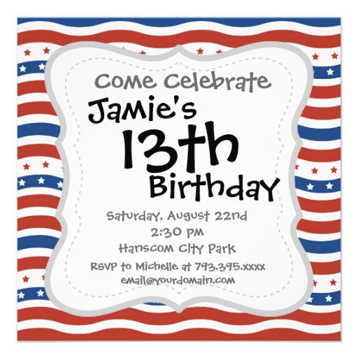 Wavy Stars and Stripes Pattern Personalized Announcements
