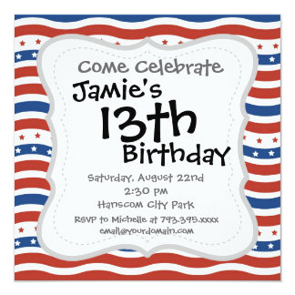 Wavy Stars and Stripes Pattern 5.25x5.25 Square Paper Invitation Card