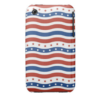 Wavy Stars and Stripes Pattern iPhone 3 Cases