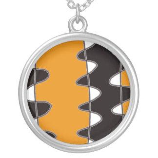 Wavy Stripe Abstract Necklace Black White Orange
