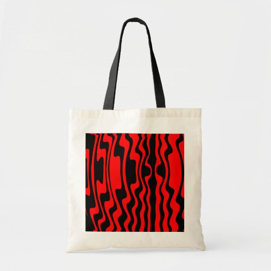Wavy Stripe - Black and Red Tote Bag