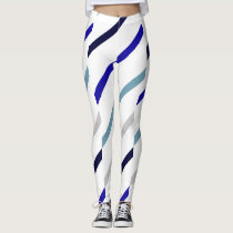 Wavy-Striped White Royal Blue Navy & Gray-Blue Leggings