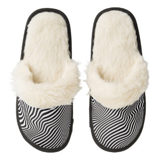 Wavy Stripes ....choose your own accent color. Pair Of Fuzzy Slippers