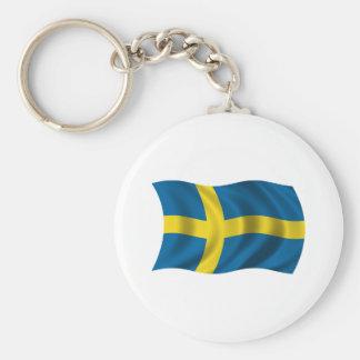 Wavy Sweden Flag Keychain