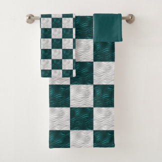 Wavy Textured Aqua & White Checkered Bath Towel Set
