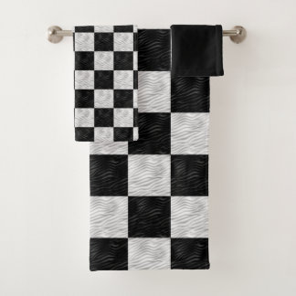 Wavy Textured Black & White Checkered Bath Towel Set