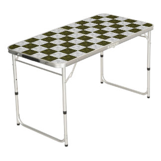 Wavy Textured Dark Sage Green & White Checkered Pong Table