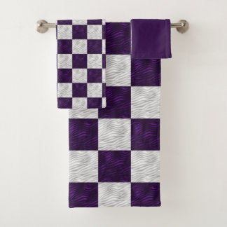 Wavy Textured Purple & White Checkered Bath Towel Set