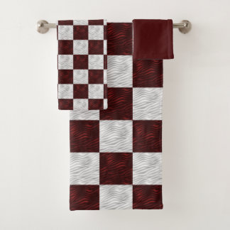 Wavy Textured Red & White Checkered Bath Towel Set
