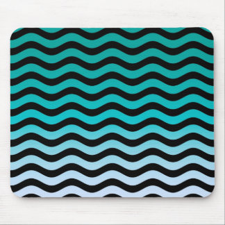 Wavy Turquoise Stripes Mouse Pads