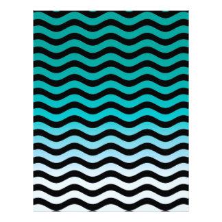 Wavy Turquoise Stripes Pattern Letterhead