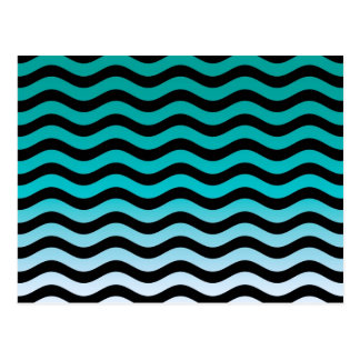 Wavy Turquoise Stripes Pattern Postcard
