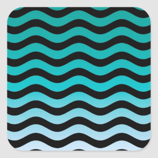 Wavy Turquoise Stripes Square Sticker