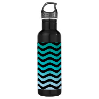 Wavy Turquoise Stripes Stainless Steel Water Bottle