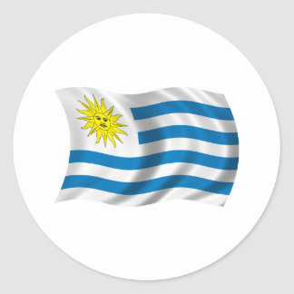Wavy Uruguay Flag Classic Round Sticker