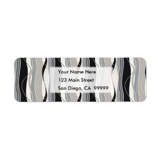 Wavy Vertical Stripes Black Grey & White Return Address Label
