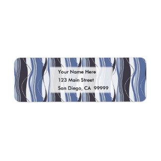 Wavy Vertical Stripes Blue & White Return Address Label