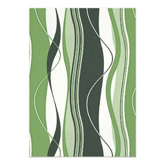 Wavy Vertical Stripes Green & White 5x7 Paper Invitation Card