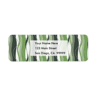 Wavy Vertical Stripes Green & White Return Address Label