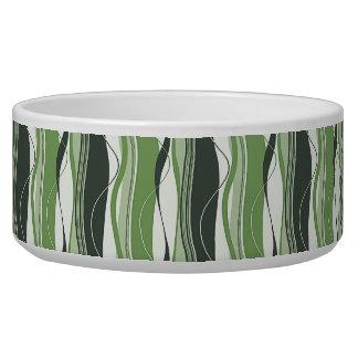 Wavy Vertical Stripes Green & White Pet Food Bowl