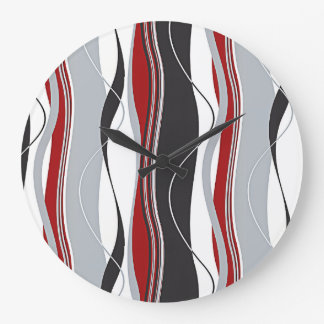 Wavy Vertical Stripes Red Black White & Grey Large Clock