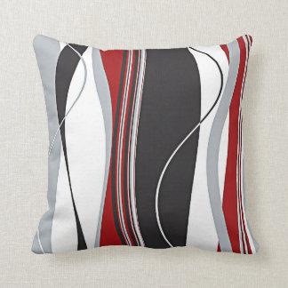 Wavy Vertical Stripes Red Black White & Grey Pillows