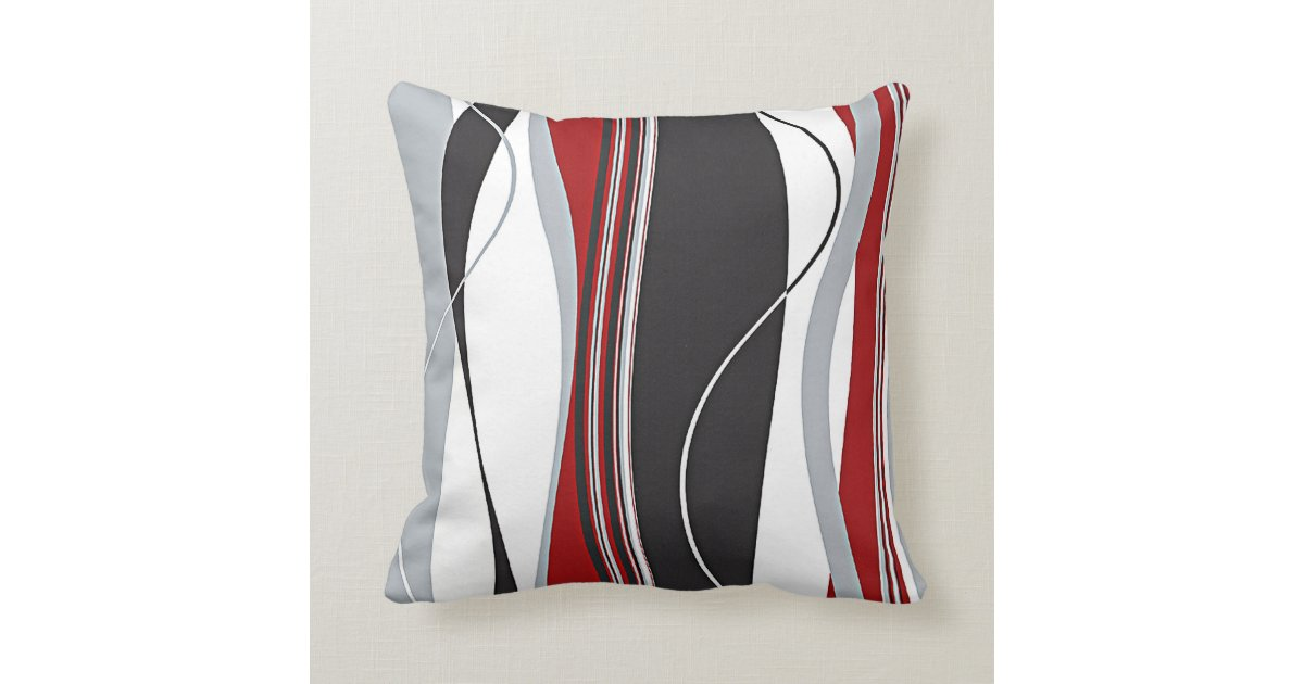 Red Black White Decorative Pillows : Wavy Vertical Stripes Red Black White & Grey Throw Pillow Zazzle