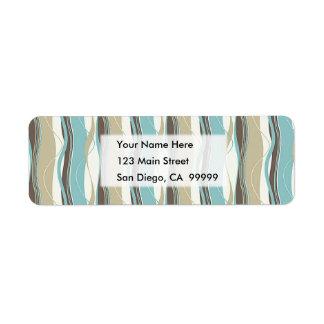 Wavy Vertical Stripes Turquoise Beige  & White Return Address Label