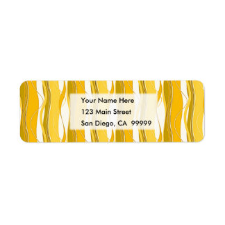 Wavy Vertical Stripes Yellow Gold & White Return Address Label